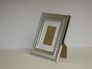 Two Tone Silver 5x7 Picture Photo Frame Mount 3x5 Free Standing