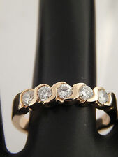 .75 tcw Round Diamonds Wedding Band 14K Yellow Gold Ring High End S-Link G/VVS2