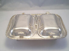 GORGEOUS DOUBLE ENTREE SERVER SILVERPLATE DISH 2 COVERS ORNATE HANDLES FOOTED