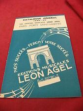 Spartito Catalogo Generale 1949 1950 Edizione Léon Agel Paris