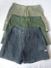 Ladies Green Blue 100% Cotton Hot Pants Shorts UK 8 EU 36
