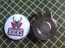 GOLF / Milwaukee Bucks Logo Golf Ball Marker/with Magnet Hat Clip New!!