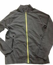 LULULEMON Mens Full Zip Track Jacket size M Gray w Yellow EUC Gym Run Sports