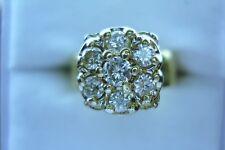 VINTAGE ESTATE LADIES 7 DIAMOND CLUSTER W / WIDE BAND RING SZ 6.25