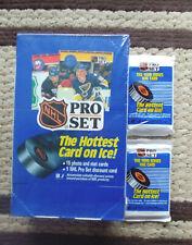 1990 ProSet NHL Hockey Factory Sealed Box, 2 Error Packs Gretzky Hull showing