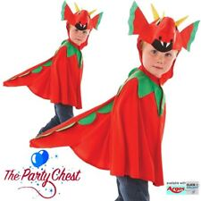 Boys Red Dragon Cape Costume Welsh Fancy Dress Kids Book Week Outfit - 3-7yrs