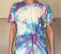 TIE DYE T SHIRT Hipster Fashion Tye Die Festival Neon Violet, Blue & Green 2XL