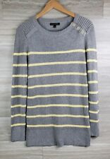 BANANA REPUBLIC Women Pullover Sweater Large Gray/Yellow Knitted