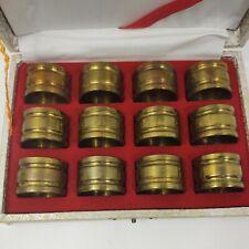 Brass Napkin Rings Napkin Holders, Set of 12 Vintage in Box