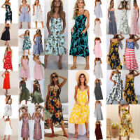Women summer boho casual long evening party beach dress off shoulder sundress