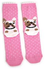 Donna Bulldog francese nella neve rosa tacco Design Calzini UK 4-8 EUR 37-42 USA 6-10