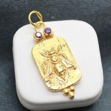 Handmade Desgner Replica Bronz Roman Coin Pendant Gold Over Sterling Silver