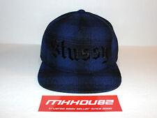 New Stussy Hombre Plaid Old English Snapback Hat Cap Blue 5-Panel World Tour