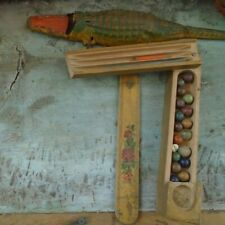 Lot Vintage Antique Toys: Wood Pencil Box, 19 Clay Marbles & Tin Alligator Body