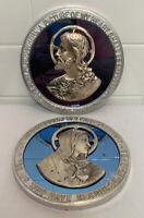 Antique Vintage Art Deco Jesus & Mary Sacred Heart Blue Mirror Picture Plaque