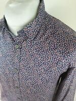 Mens Ted Baker Leojack Floral Geometric Shirt Blue 4 Large 42 Chest Vgc