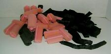 16 Pillow Soft Flexible Black Rollers Plus 22 Pink & 10 Black Sponge Rollers