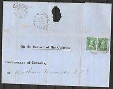 New Brunswick covers 1866 5c Pair folded Service letter Controller of Customs