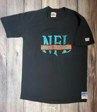 Rare Miami Dolphins Black T Shirt XL Nutmeg Brand Large NFL Logo Embroidered