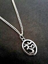 "Small OM Meditation Buddhist Buddha  Necklace 18"" Tibetan Silver FREE Gift Bag"
