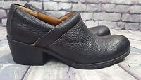 Women's Born Concept Mules Shoes Brown Leather Slip On Clog mid Heels  Size 9.5