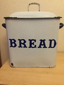 Large Vintage Bread Bin white enamel handles Distressed genuine Old Antique