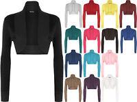 New Womens Long Sleeve Ladies Short Cropped Open Shrug Bolero Cardigan Top 8-14