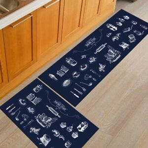 Flannel Mat  Nonslip Kitchen Door Mat Waterproof Anti-Oil Floor Rug Carpet Decor
