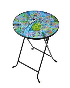 Folding Drinks Table Peacock Design