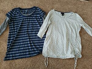 Maternity Shirts Size Large, Long Sleeve Blue Striped Casual Top, Gray Maternity