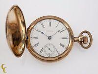 Yellow Gold Filled Waltham Full Hunter Pocket Watch 17 Jewel Size 18 1905 825
