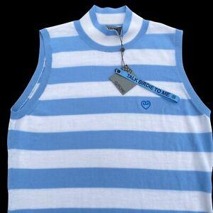 G/Fore Striped Sleeveless Mock Neck Top Medium Wool Golf $155