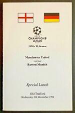 More details for man utd v bayern munich 1999 champions league menu manchester united treble