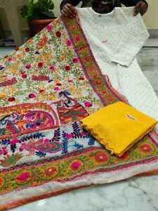 Pure cotton chikankari stiched top with work handwork raw silk kalamkari dupatta