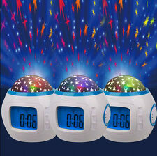 Music Starry Star Sky LED Projection Digital Alarm Clock Thermometer Calendar