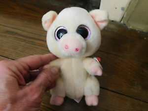 Ty Beanie Boos Piggley Pig Plush Stuffed Adorable 2016 VelveTy Glitter Eyes tag