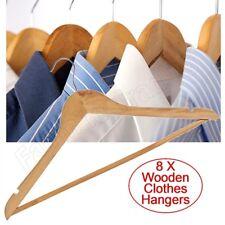8 Natural Wood Coat Hangers Trouser Bar 43cm Wooden Clothes Wardrobe Shirt Skirt