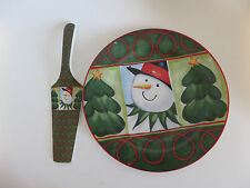 """Today's Living Snowman Cake Plate with Server 10.25"""" Holiday Christmas Winter"""