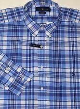 New $98 Polo Ralph Lauren Long Sleeve Blue Plaid Cotton Poplin Shirt / XLT