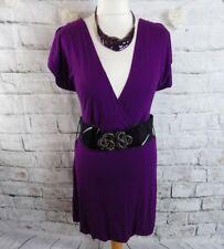 "Tom Wolfe 'adilene' Dress 14 Bust 38"" Purple Soft Jersey Flattering V Neck"
