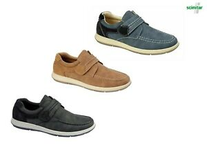 Mens Casual Touch fastening Leisure Shoes Navy Blue Black OR Grey Size 6 -13