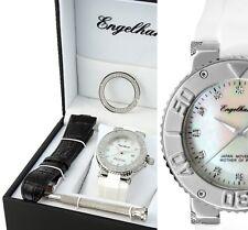 elegante Armbanduhr Perlmutt/Silber Leder-und Silikonarmband ENGELHARDT 229€ UVP