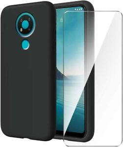 For Nokia 2.4 3.4 8.3 C3 (2020) Black TPU Silicone Case Cover + 2*Screen Glass