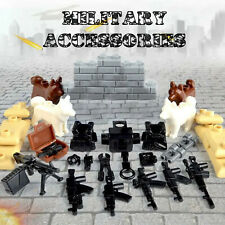 WW2 Military Army Accessories Guns Sand Bags Dogs Minifigure Set fit lego brick