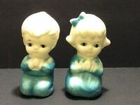Vintage Praying Children Boy & Girl Salt & Pepper Shakers Plastic Blue Hong Kong