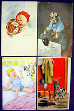 Vintage BULLDOG POSTCARD Lot PUPPY England BABY British TOY Dress COMIC Old LADY