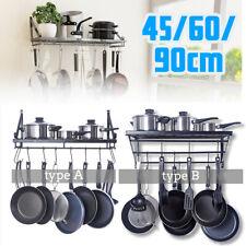 Olla de cocina montado en la Pared Estante de almacenamiento de utensilios de Cocina Pan Estante Sostenedor Percha con gancho