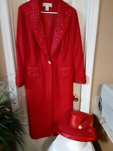 Allison Woods18W Long Jacket  with Skirt Red  Holiday Formal with Hat rhinestone