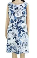 Connected Apparel Womens Sheath Dress Blue Gray Size 14 Tiered Floral $80 362