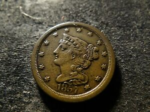 1857 VF XF Sharp Coronet Braided Hair Half Cent  KKA